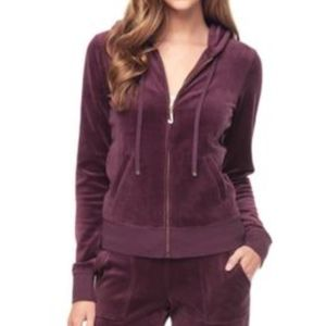 Juicy Couture Jackets & Coats - Juicy Couture Ultrasoft Velour Hooded Jacket Plum